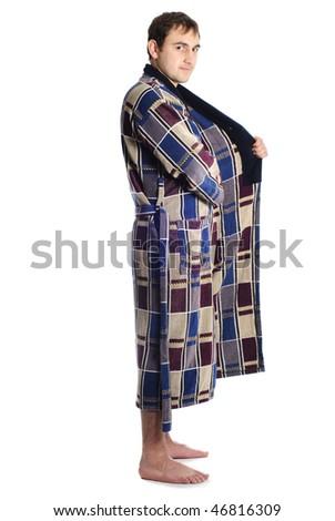 Man dressing blue bathrobe isolated on white background - stock photo