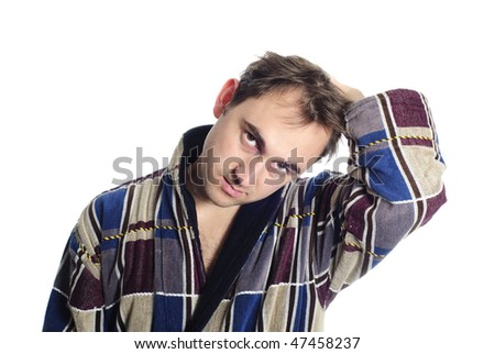 Man dressing blue bathrobe isolated on white background. He is frustrated and hand up. - stock photo