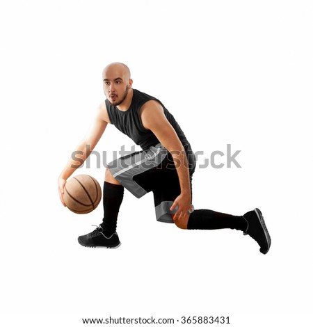 man dribbles on white background with basketball ball. Basketballer. In in black jersey playing basketball. Isolated on white square photo of basketballer.