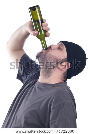 man drinking - stock photo