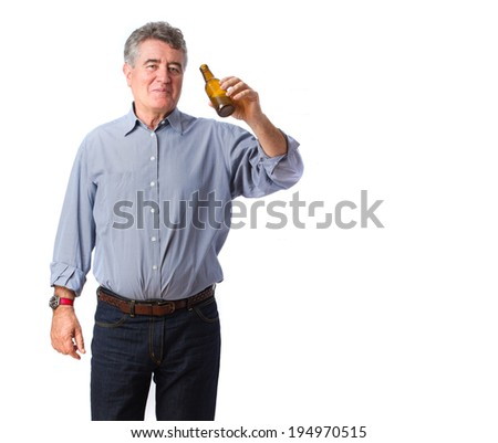 Man drinking a beer - stock photo