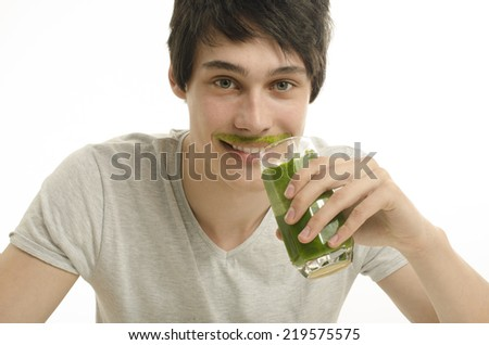 Man drinking an organic smoothie, eating healthy for an active life, dieting - stock photo