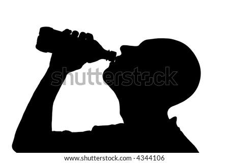 Man drinking bottled water - silhouette - stock photo