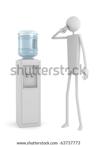Man drinking water near cooler with water bottle on a white background, 3D render. - stock photo