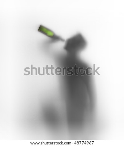 Man drinksa bottle of wine - stock photo