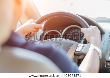 Man driving car - stock photo