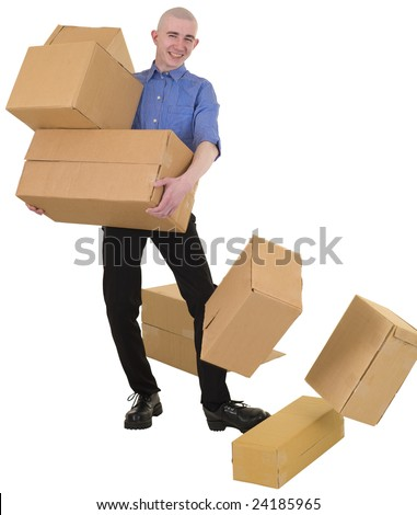 Man drops cardboard boxes on the white background