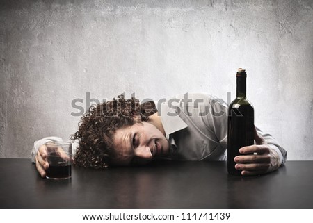Man drunk wine - stock photo