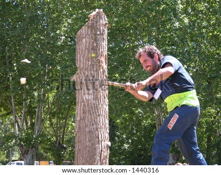 Man during a lumberjack contest - stock photo
