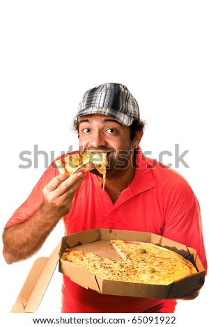 Man eating a pizza on white background . - stock photo