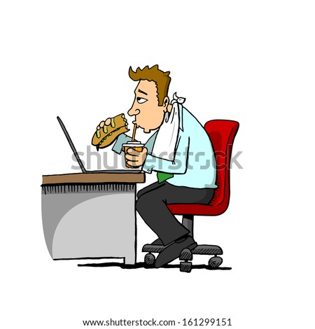Man Eating At Desk - stock photo