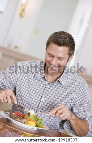 Man Eating Healthy meal,mealtime Together - stock photo