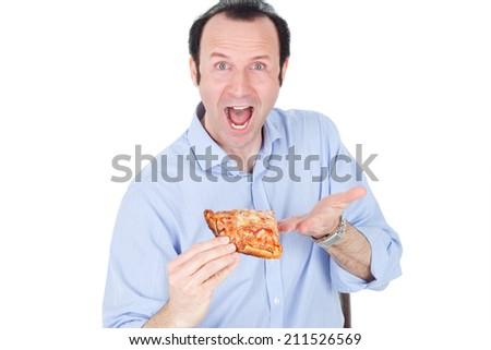 man eating pizza - stock photo