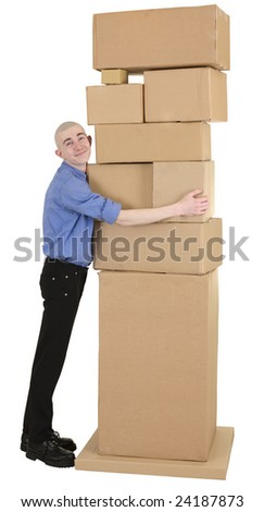 Man embrace heap cardboard boxes on white