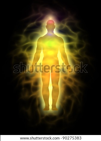 Man energy body - aura - stock photo