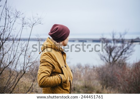 Man enjoy the lake view - stock photo