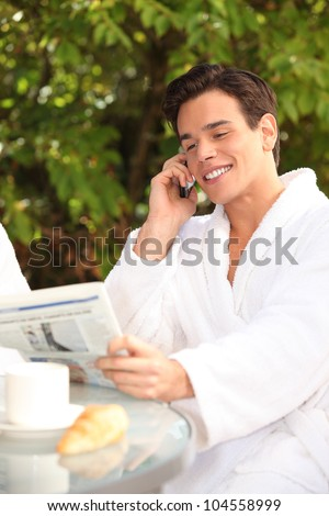 Man enjoying a relaxing weekend at the spa - stock photo