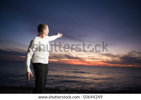 Man enjoying beautiful view at sunset