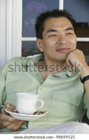 Man Enjoying Morning Coffee - stock photo