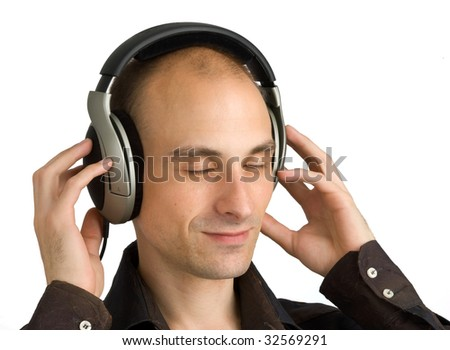 Man Enjoying Music. Isolated on white