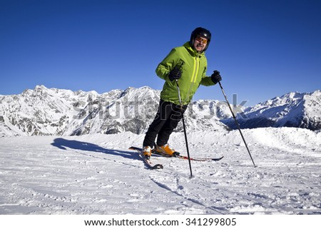 man enjoying skiing