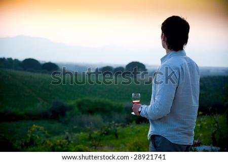man enjoying wine and looking beautiful view of vineyard - stock photo