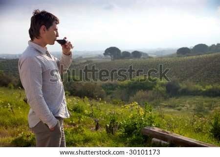 man enjoying wine and looking beautiful view of vineyard - stock photo