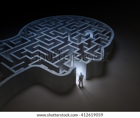 Man entering a maze inside a head - 3D illustration