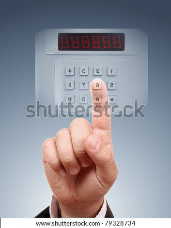 Man entering safe - stock photo