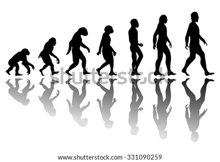 Man evolution. Silhouette progress growth development. Neanderthal and monkey, homo-sapiens or hominid, primate or ape with weapon spear or stick or stone - stock photo