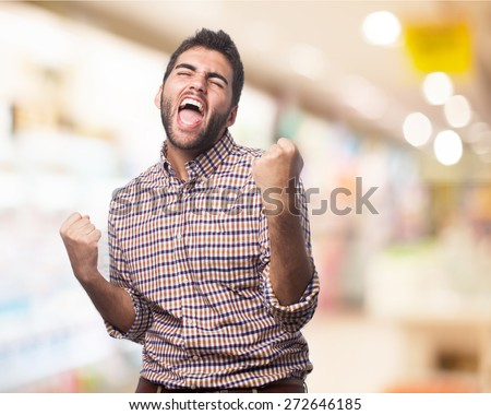 man excited isolated - stock photo