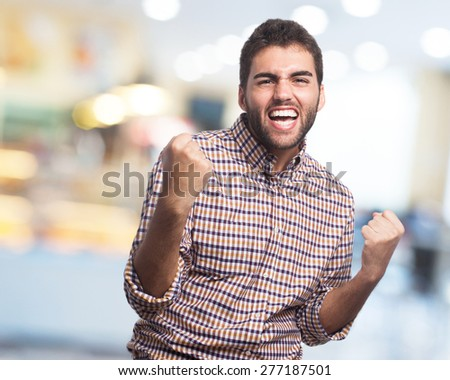 man excited isolated