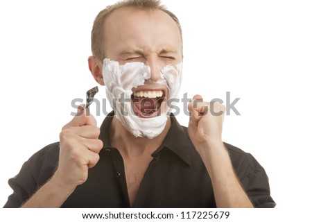 man exclaming while having a shaving process standing isolated over white background