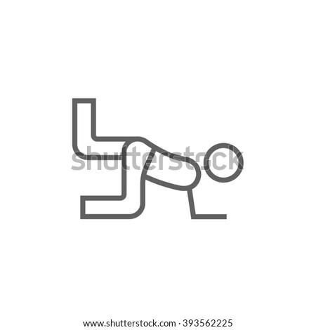 Man exercising buttocks line icon. - stock photo