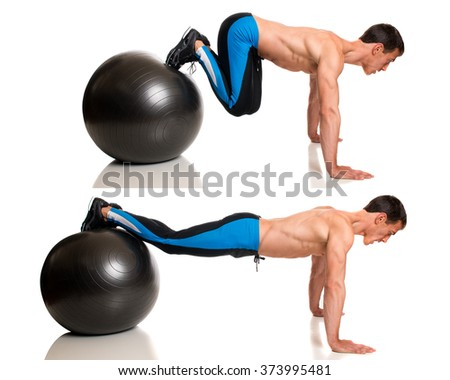 Man exercising with a stability ball. Studio shot over white.