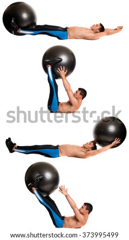 Man exercising with a stability ball. Studio shot over white. - stock photo