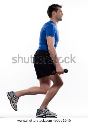 man exercising workout on white background - stock photo