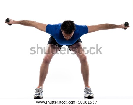 man exercising workout on white background with weights - stock photo