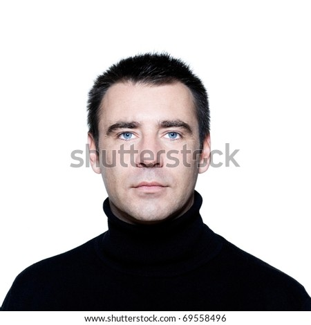 man expressive portrait on isolated white backgroun - stock photo