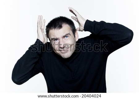 man expressive portrait on isolated white background