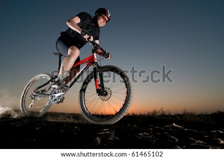 man extreme biking - stock photo