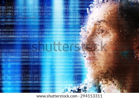 man face disintegrating against a technology background with binary digits, concept for code cracking  - stock photo