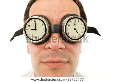 Man face with goggles showing clocks - nine to five job concept, isolated - stock photo