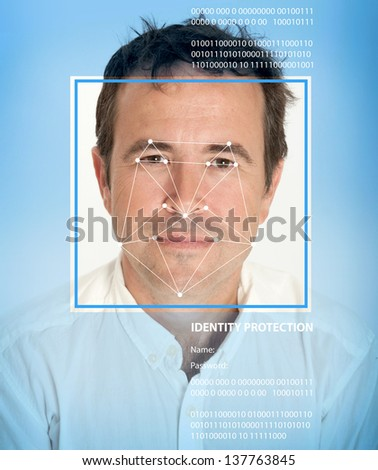 Man face with lines from a facial recognition software - stock photo