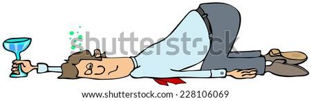 Man fall down drunk - stock photo
