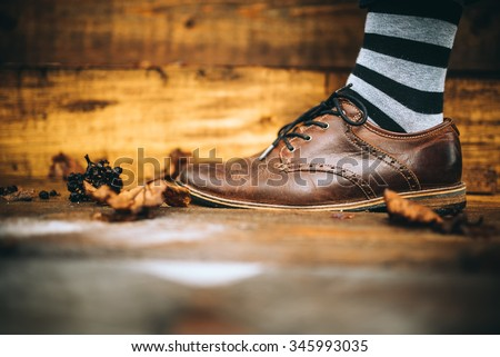 man fashion brown shoes on wood background with striped socks - stock photo