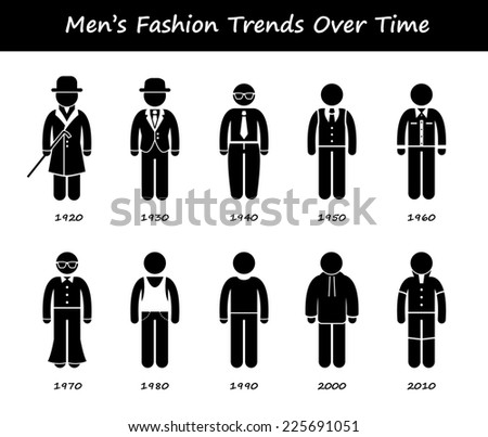 Man Fashion Trend Timeline Clothing Wear Style Evolution by Year Stick Figure Pictogram Icons