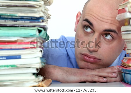 man fed up with studies - stock photo