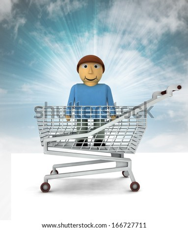 man figure as shopping customer with sky illustration - stock photo