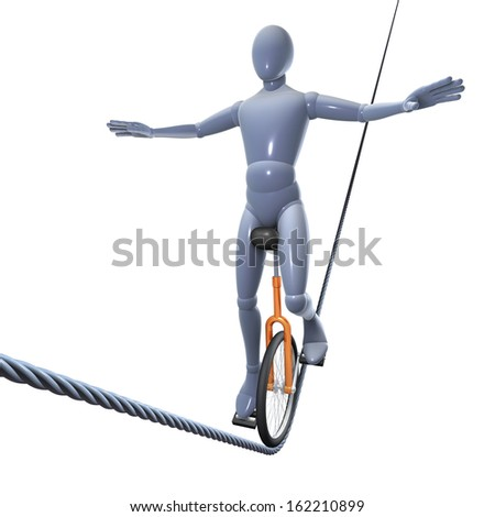 Man, figure balancing with a unicycle on a high wire, 3d rendering isolated on white background - stock photo